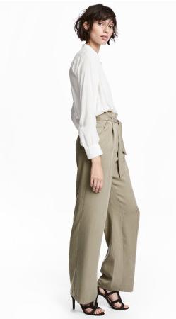 H&M Wide-Leg Khaki Pants