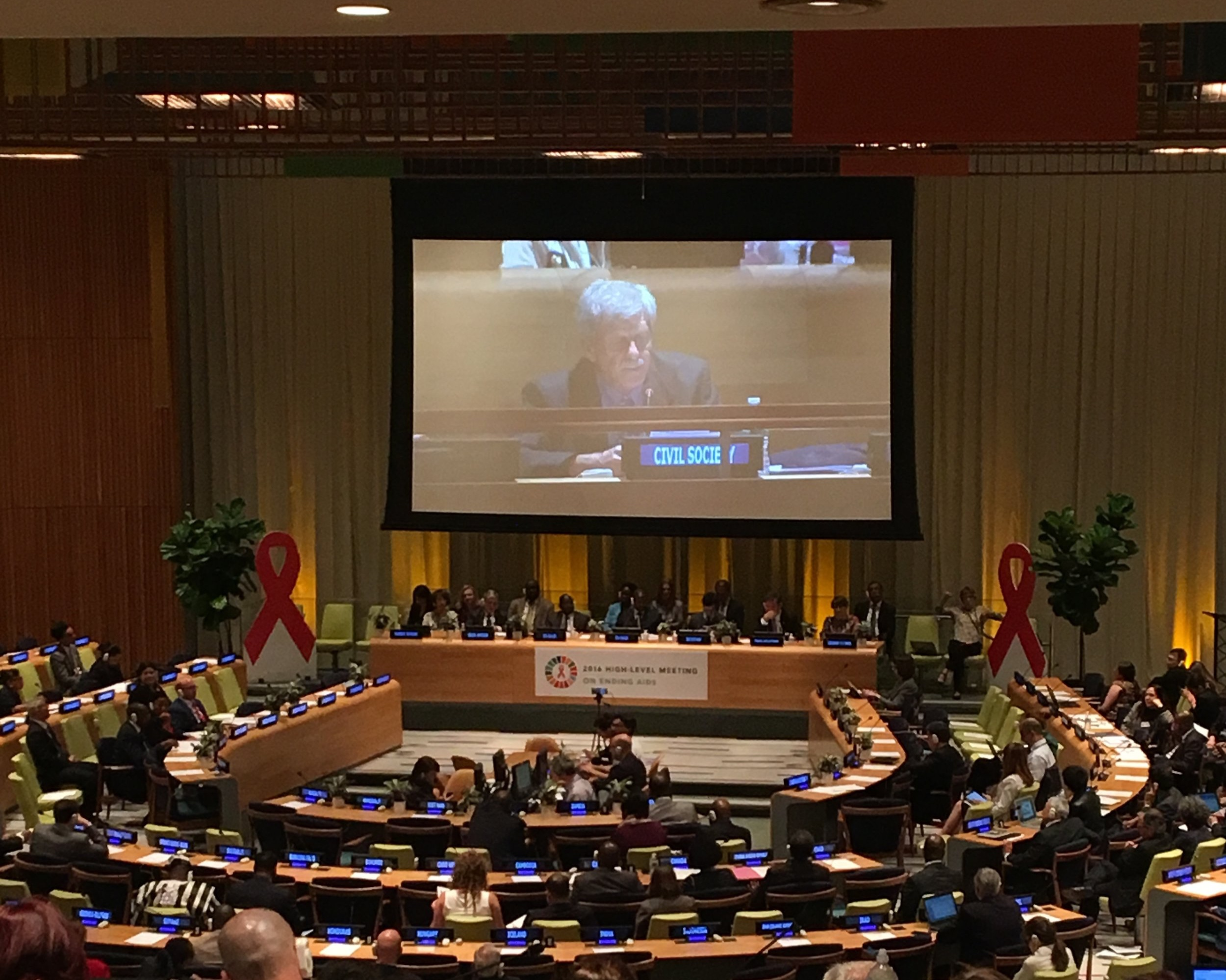 Barstow addresses the United Nations High Level Meeting on AIDS in 2016