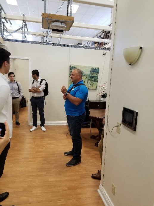 Ted Maulucci showing the home lab where new technologies will be developed and tested on the SmartONE-enabled platform