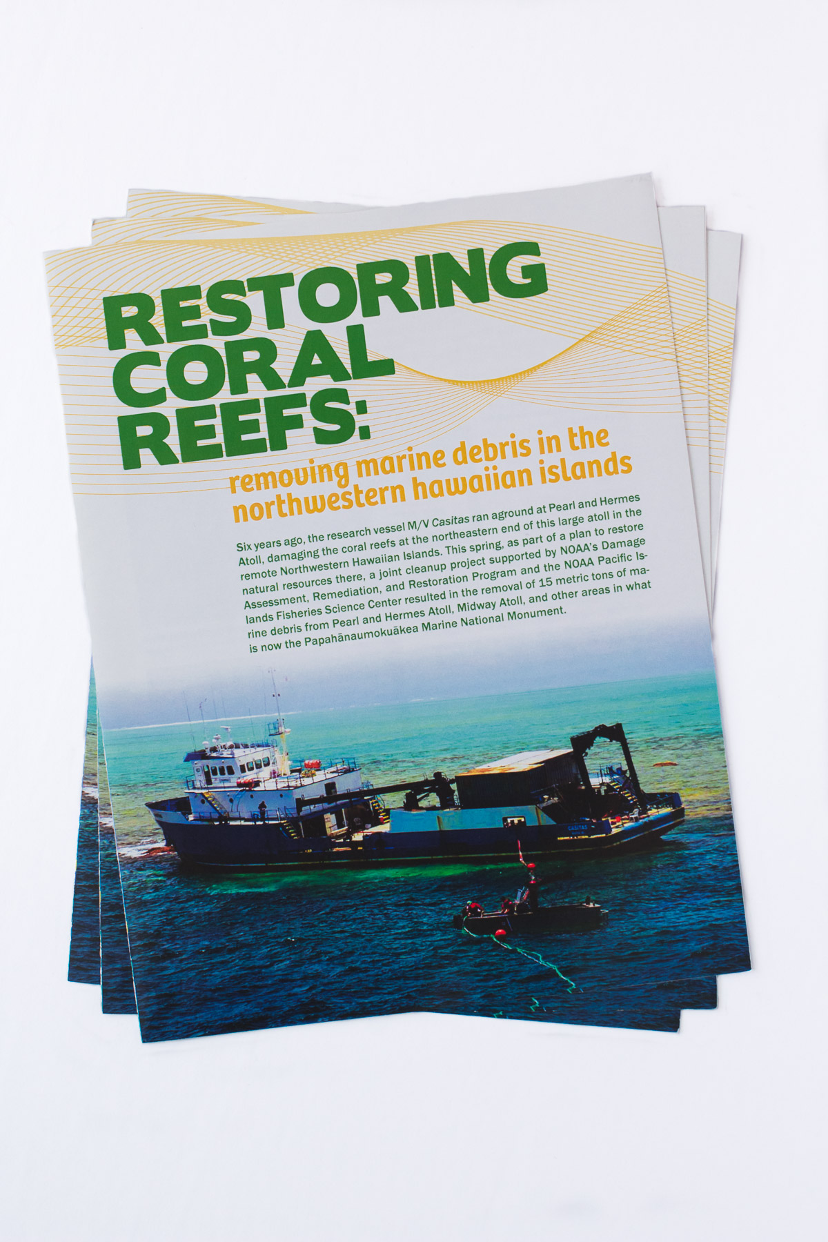 We created all graphics, layout, and design in this booklet. download entire booklet here:  https://www.pifsc.noaa.gov/cred/restoring_coral_reefs_removing_marine_debris_in_the_nwhi.pdf