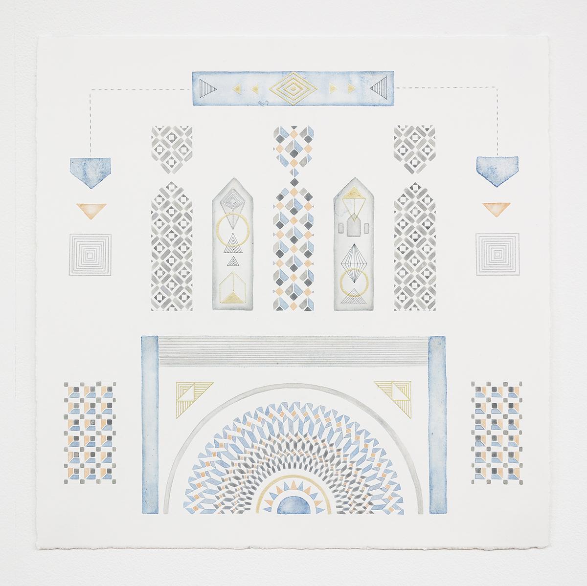 Entrance   acrylic, pen and colour pencil on paper, 40 x 40cm