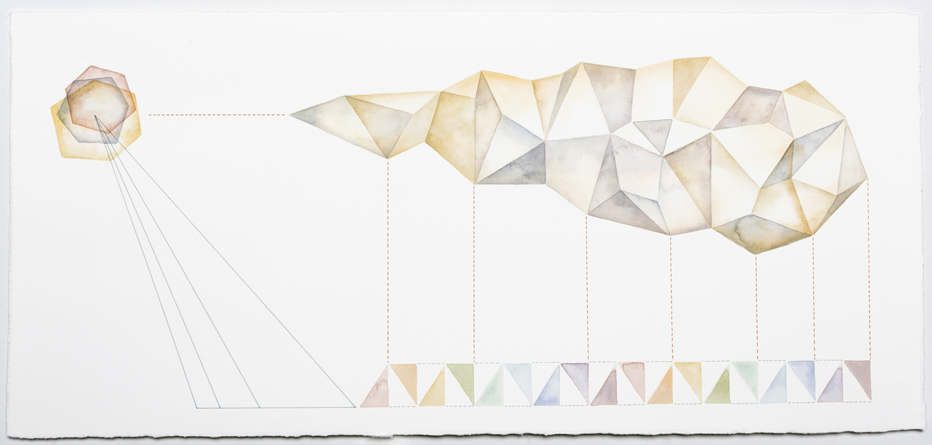 Diagrammatic Construct #6   acrylic and pen on paper,  30 x 65cm