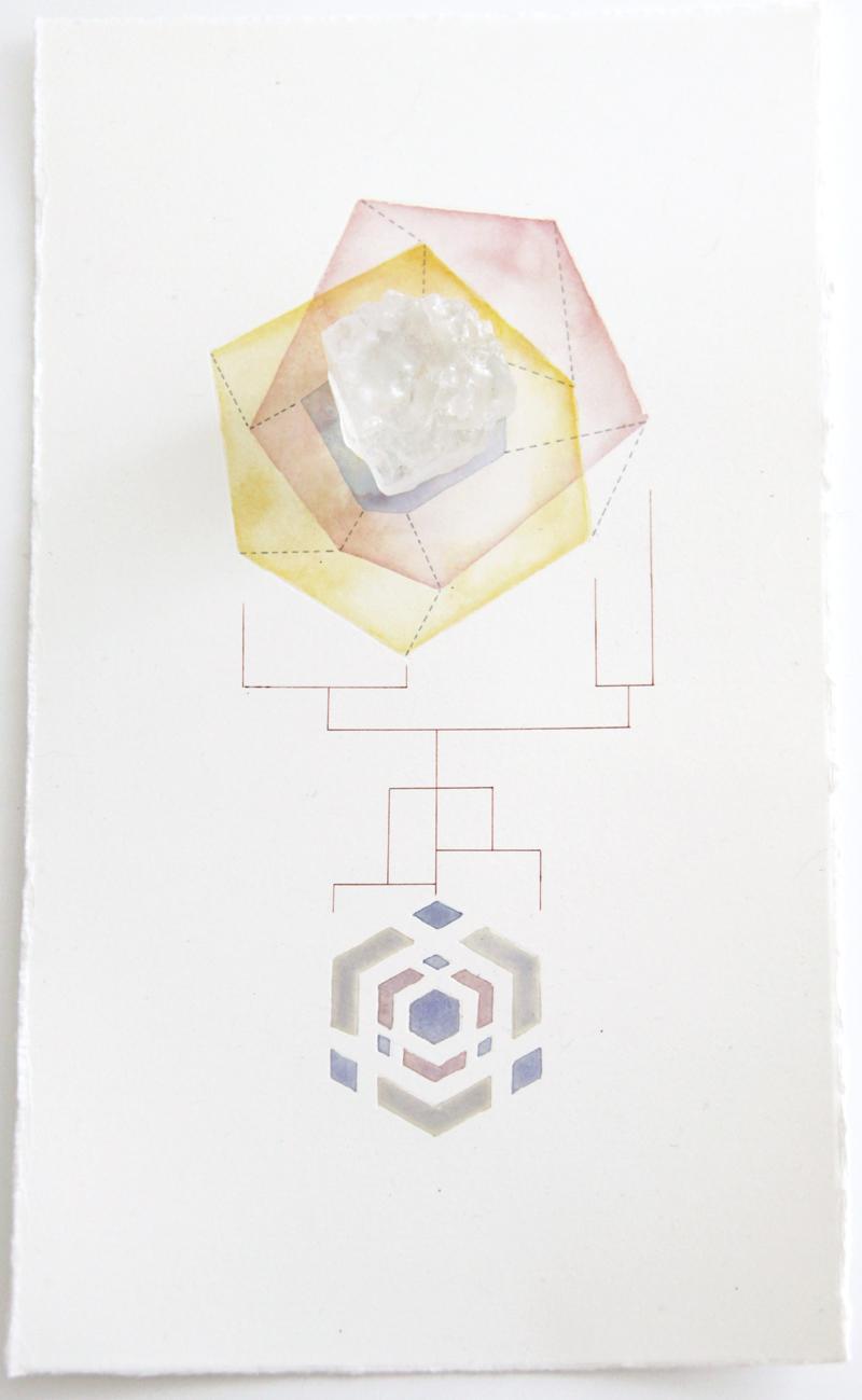 Geometric Findings (Salt Crystal)   salt crystal, acrylic and pen on paper, 33 x 19cm