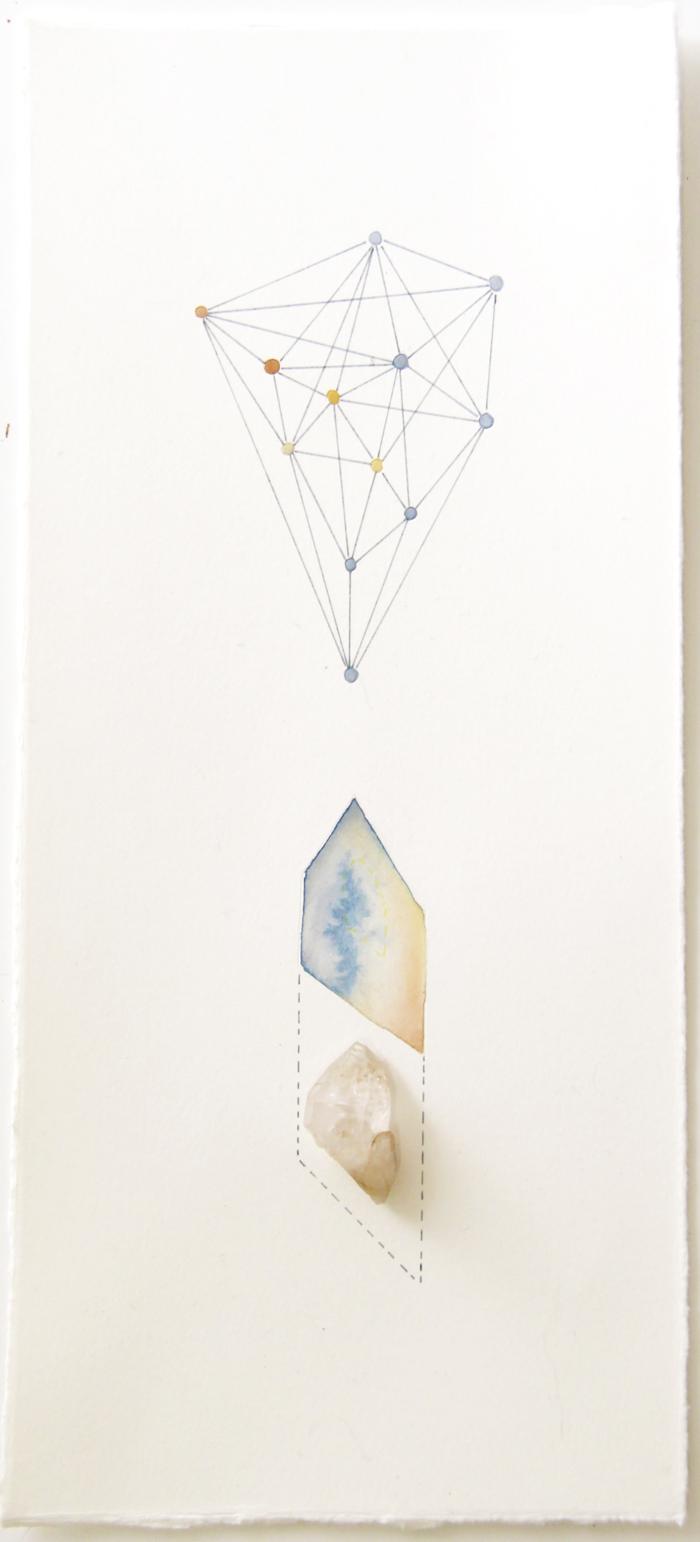 Geometric Findings (Quartz)   quartz, acrylic and pen on paper, 33 x 15cm