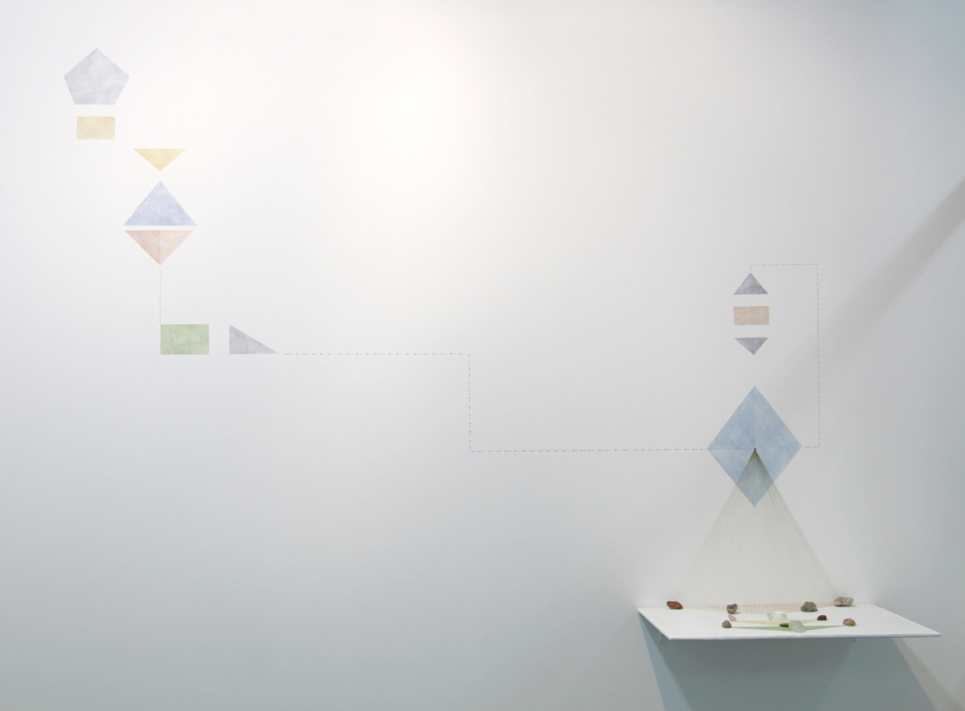 Thought Forms   minerals, acrylic and cotton thread on wall, variable size