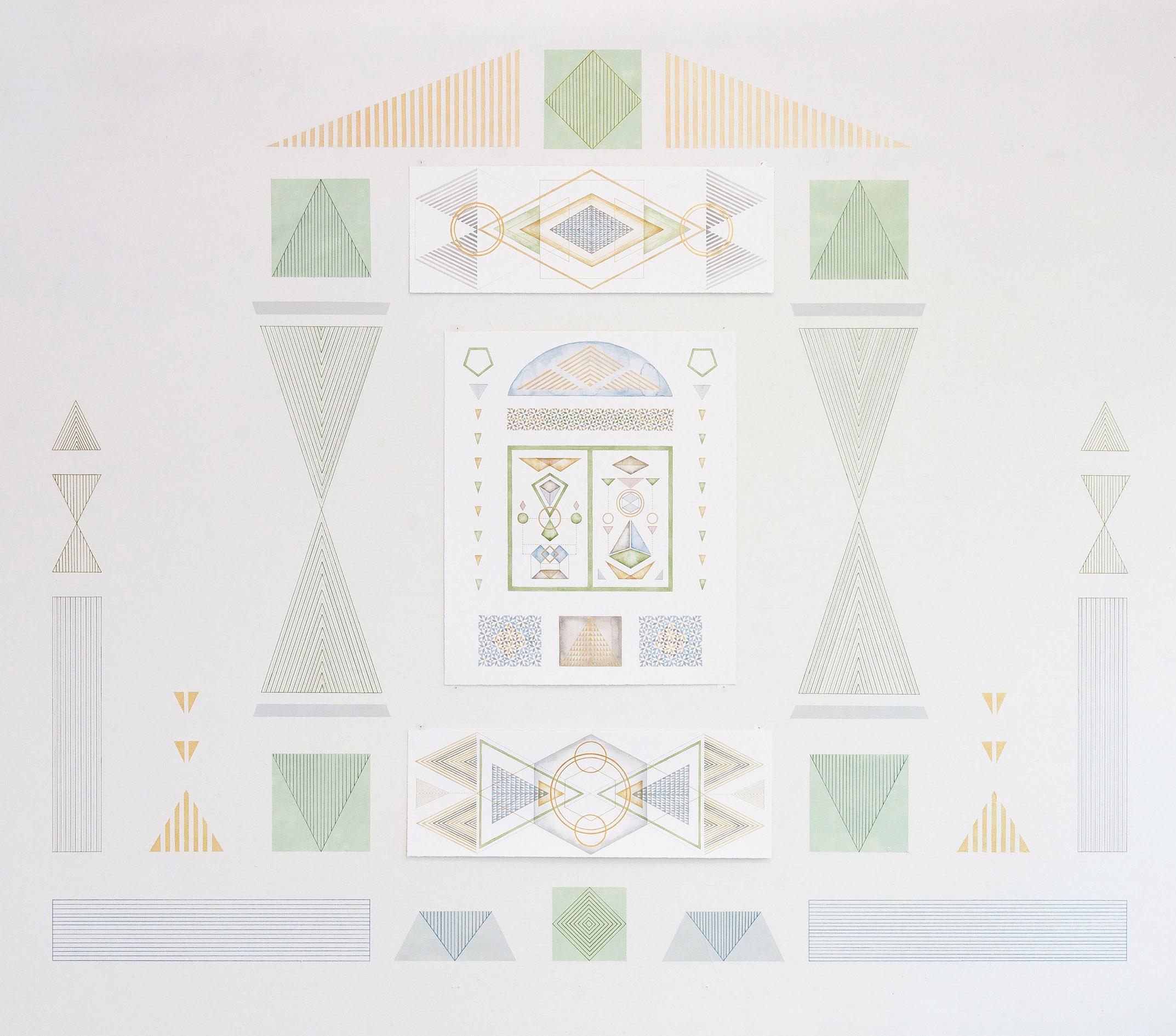 Temple Drawing (Garden Gate)   acrylic, pen and colour pencil on paper & on wall, 160 x 185 cm