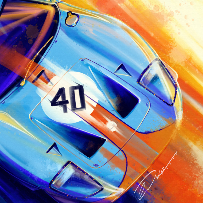GT40 Gulf - Pinstripe Chris - There really is no more of an iconic duo in motorsport history. A piece of art, captured in this piece of art.