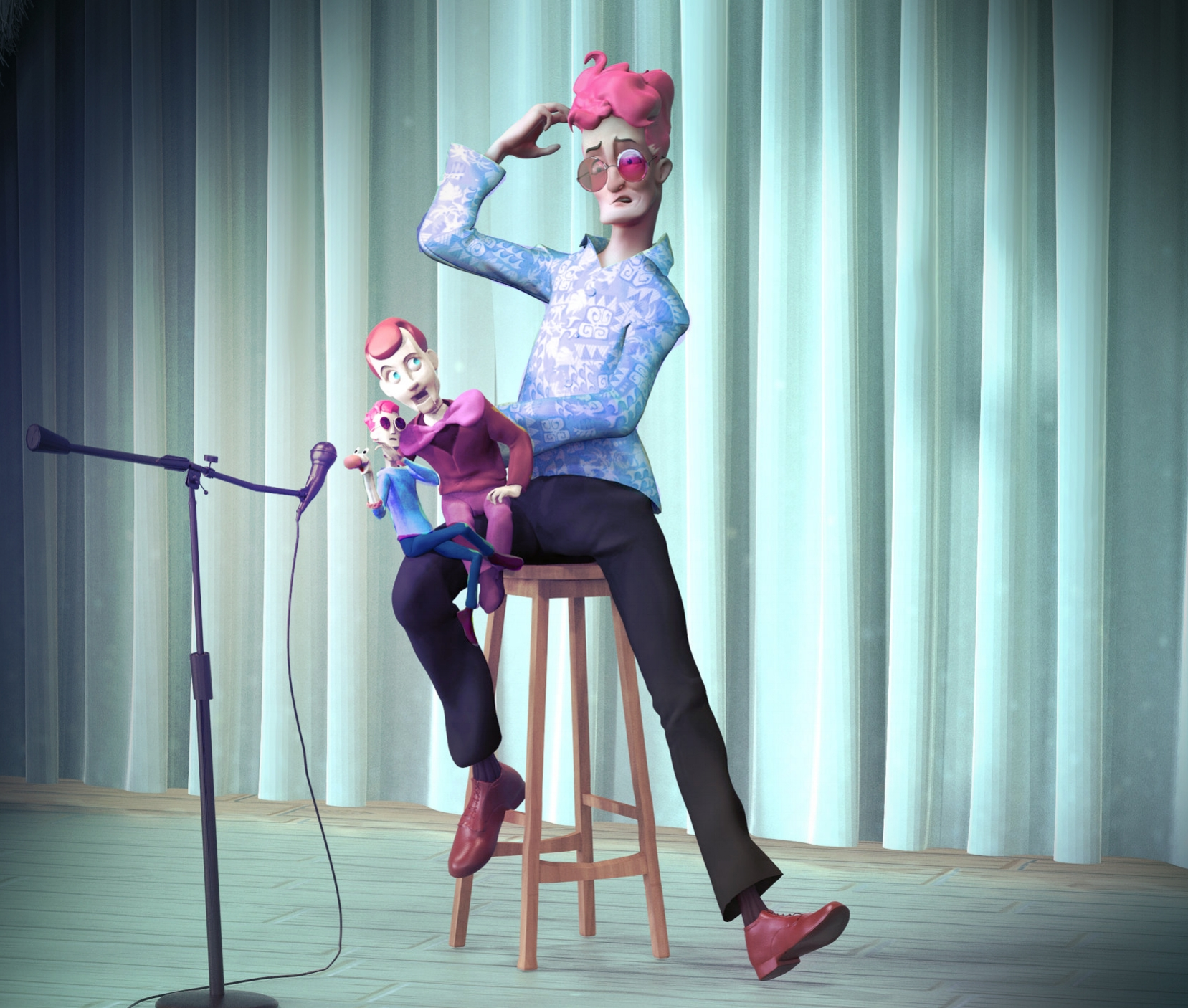 GILBERT THE VENTRILOQUIST - Sculpted with Zbrush, textured in Photoshop and rendered with Keyshot