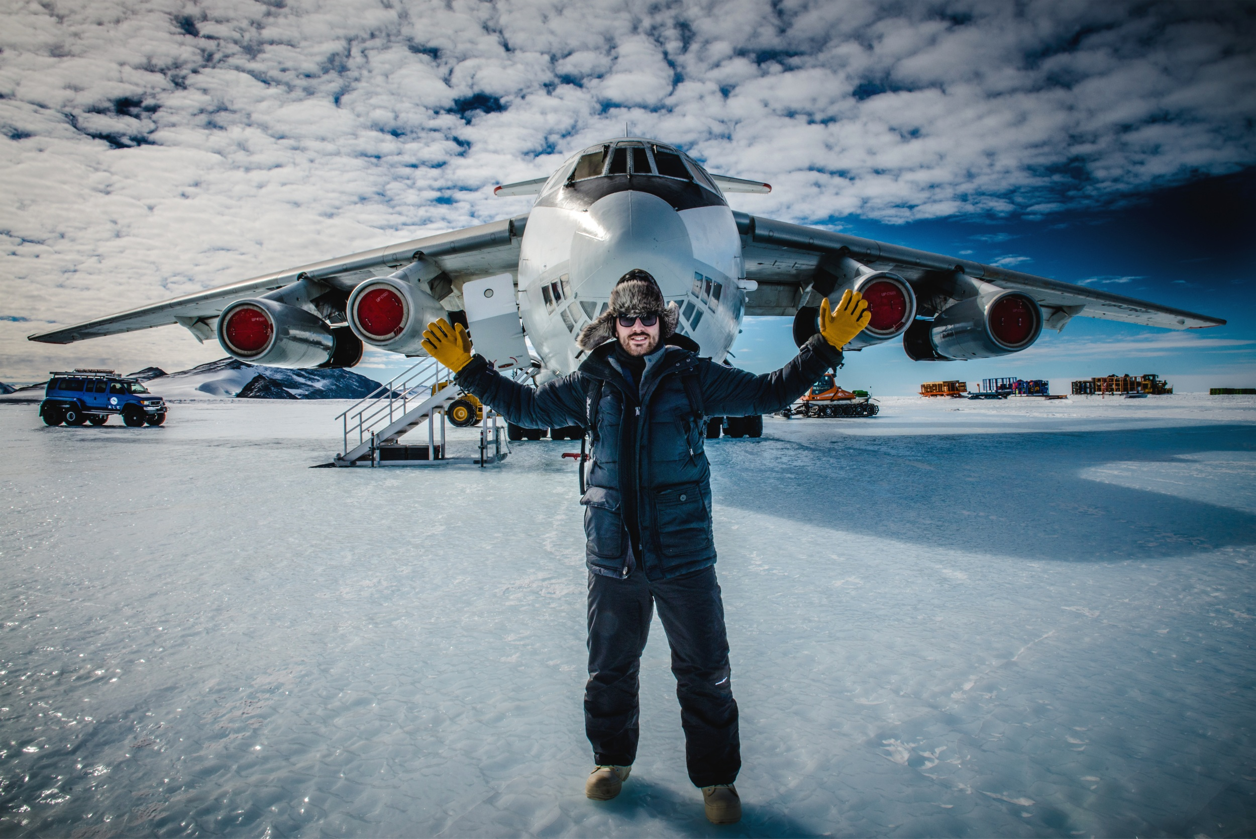 Standing on the blue ice runway in front of the Ilyushin 76 aircraft. Photo by Mark Conlon.