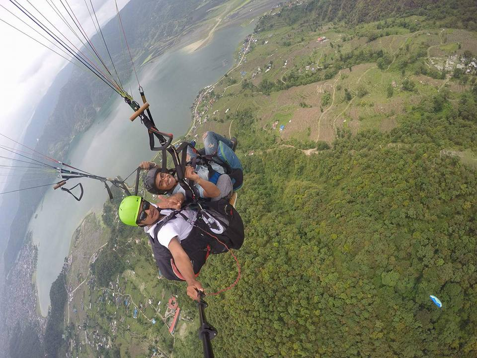 Tandem Paragliding from top of Sarangkot over Phewa Lake
