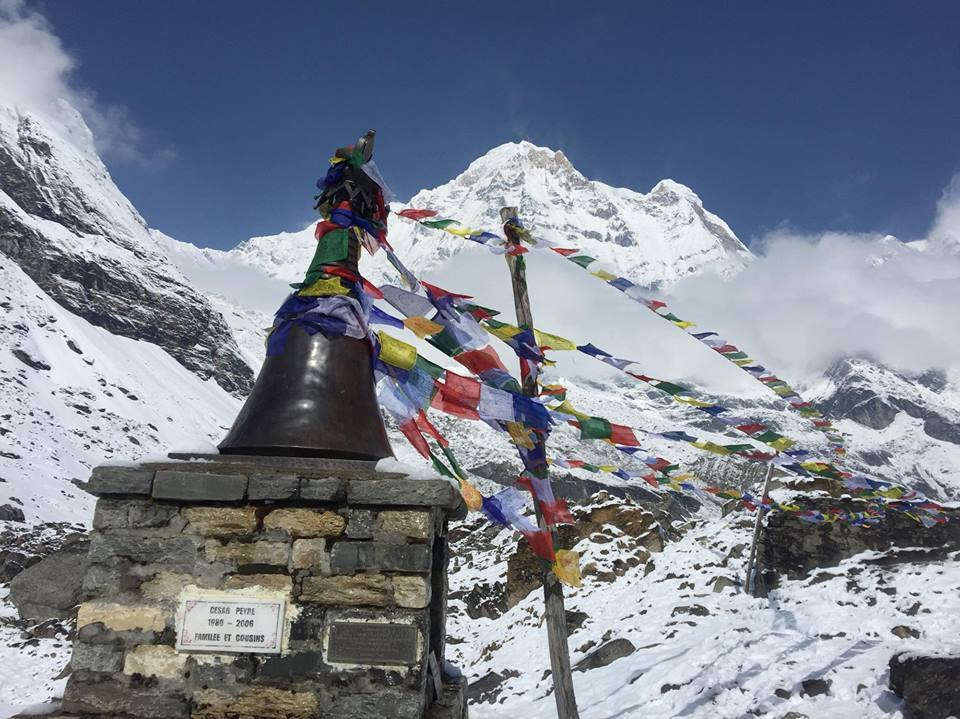 Memorial stupa in central of Base Camp - Photo by Pham Cuong