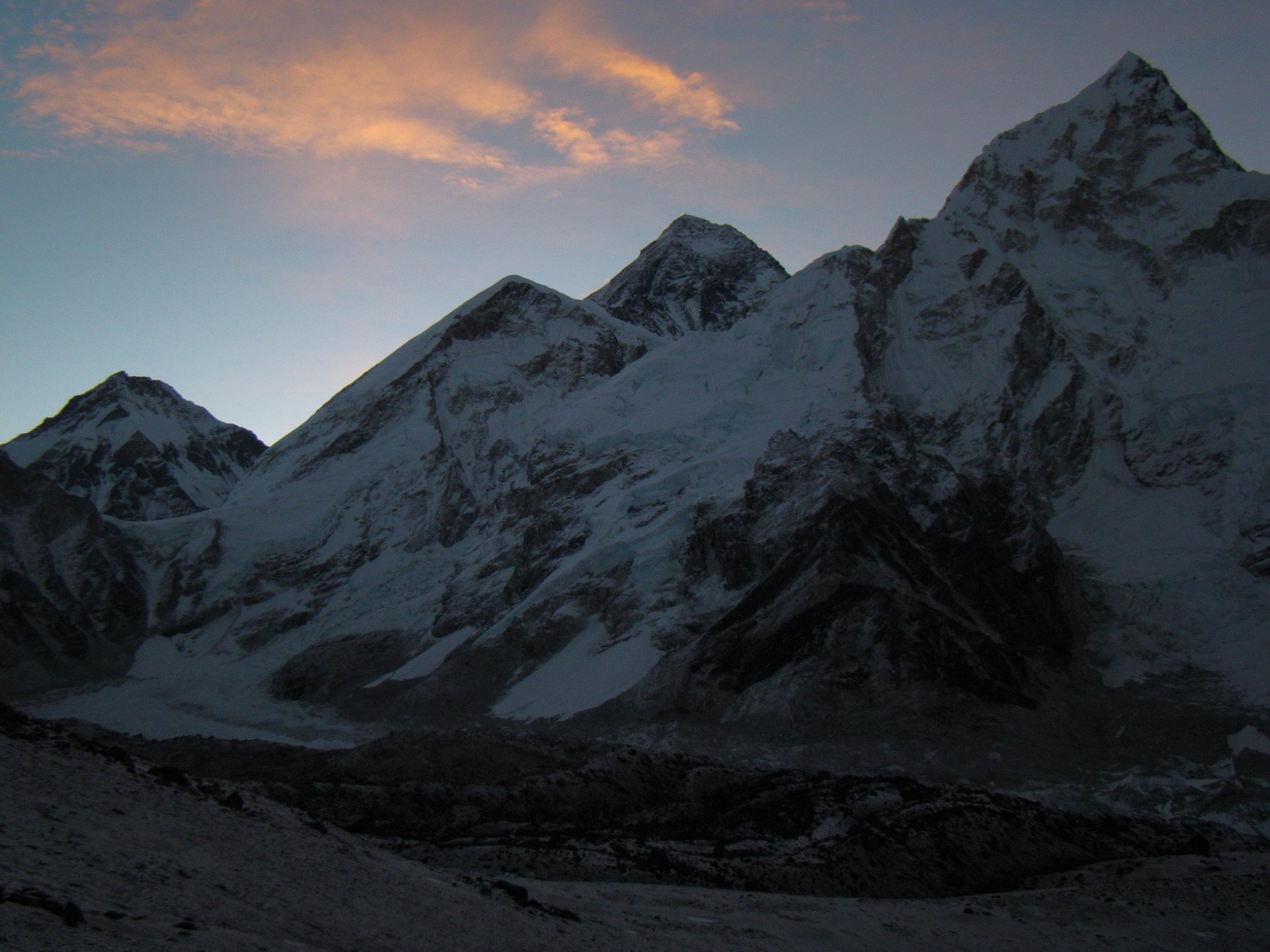 Everest behind Nuptse and next to Lhotse view from Kalar Pathar - Photo by Filip Lhota