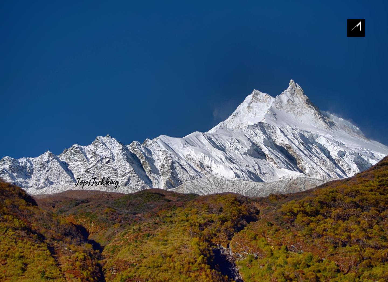 Manaslu Himal eight highest peak in the world seen from Samagaeon