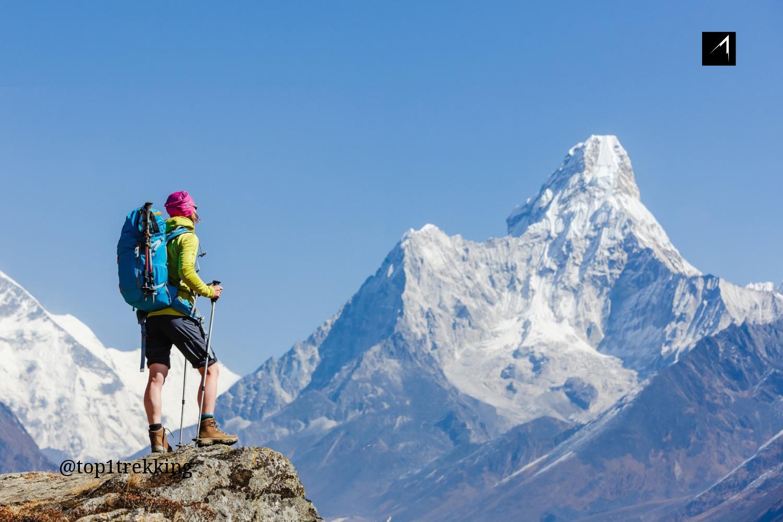 Trekker đứng trược ngọn Ama Dablam - Núi mẹ và con