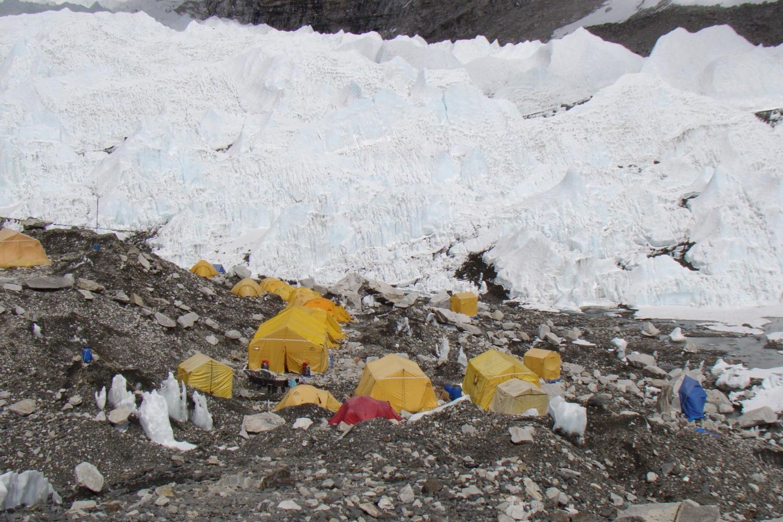 Everest Base Camp with hundred tent built on top of Khumbu Glacier
