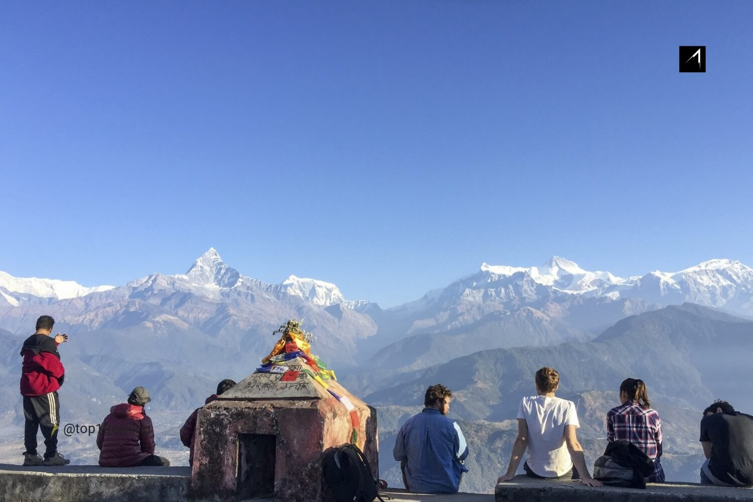 Pokhara lake side with Paraglider flying high above