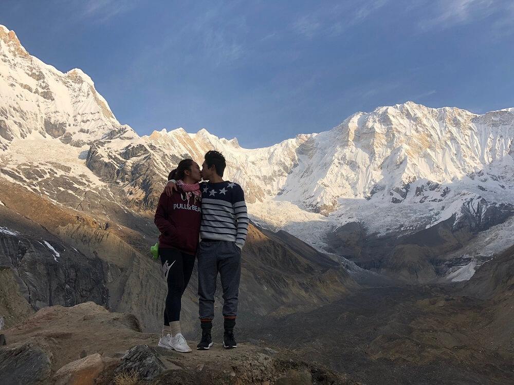 Kiss in the heart of Annapurna Base Camp Nepal