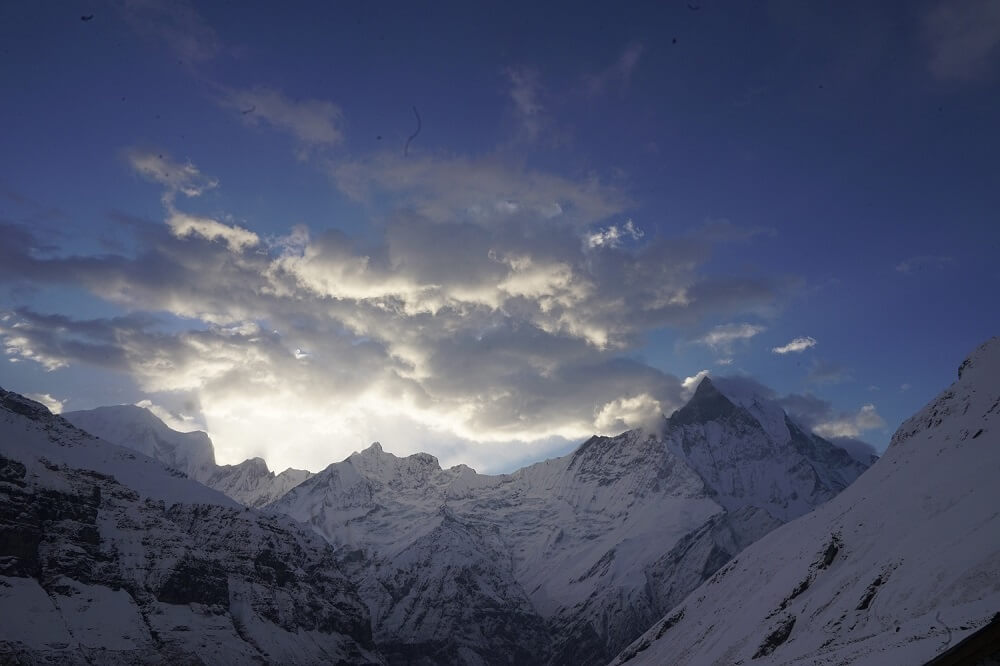 First sun ray of the day in Annapurna Base Camp