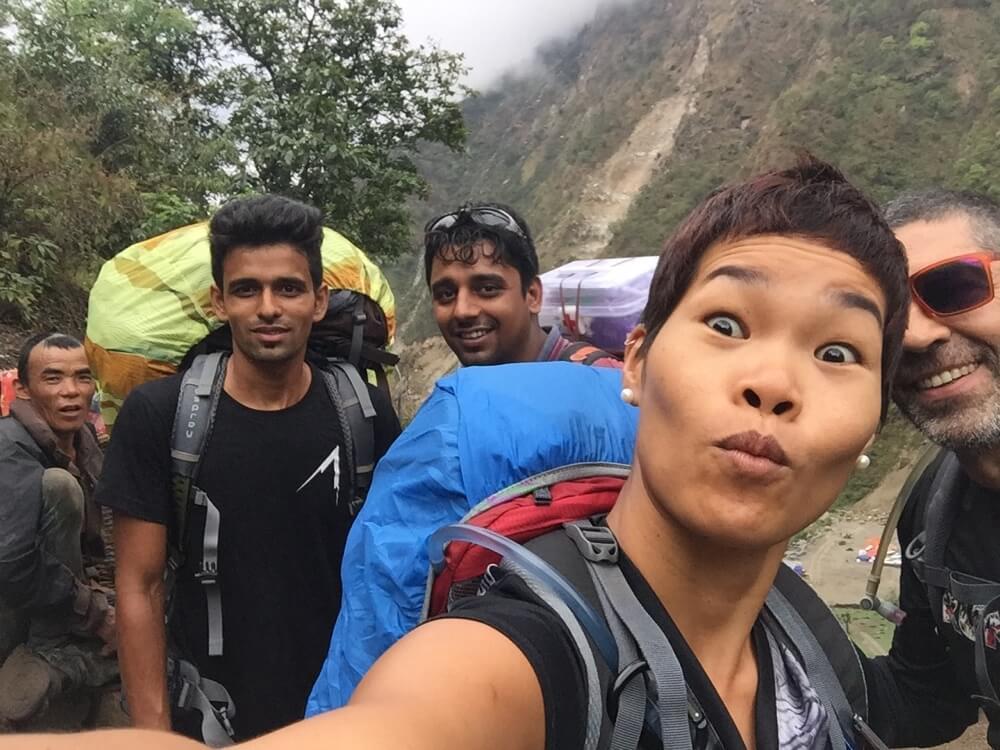 With Top1Trekking guide and porter, we start the Manaslu Circuit trek.