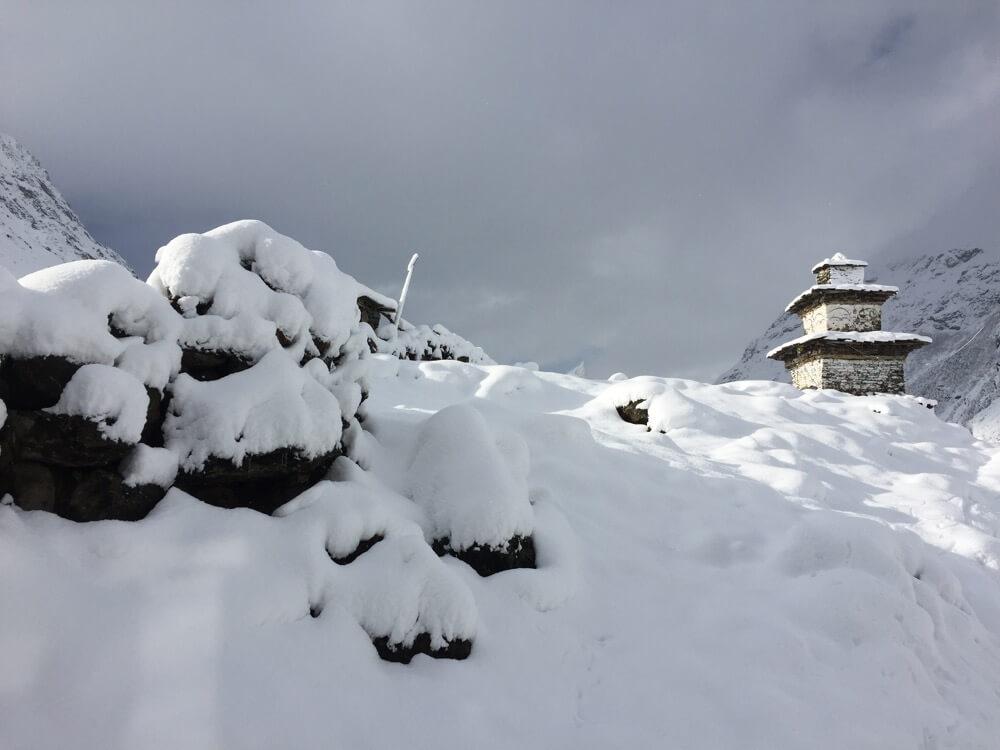 Buddhist chorten deep in snow in Samdo