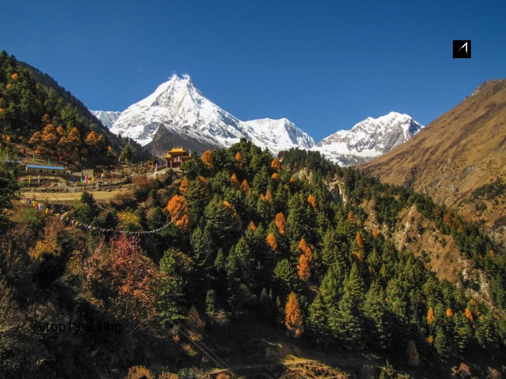 The soaring monarch of Manaslu, the eighth highest peak in the world
