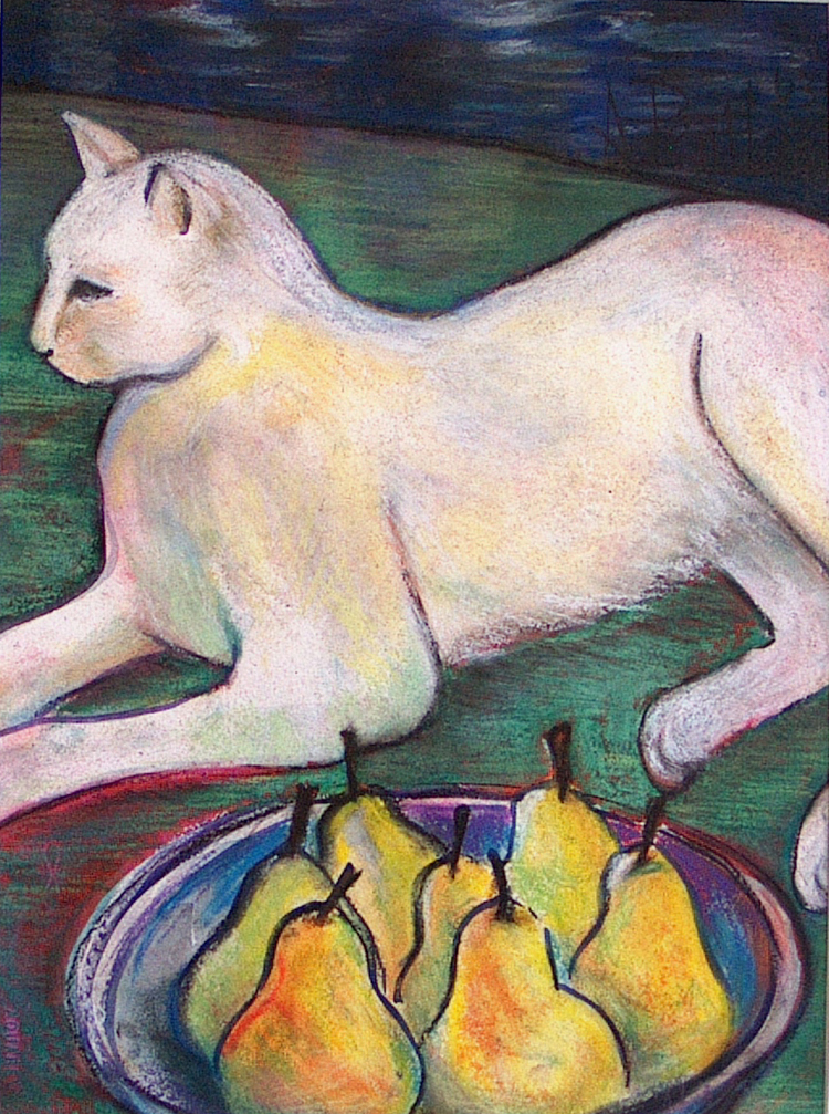 White Cat with Pears
