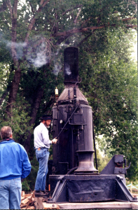 Jerry Harmon fires up the Dolbeer Steam Donkey April 12, 1997