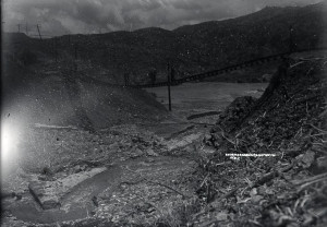 Rail line washout. This happened more than once before the dam was built.