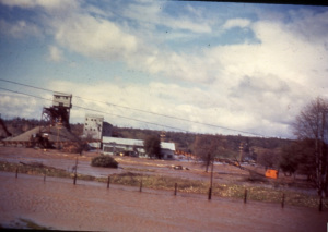 A rare color slide of the gravel plant at Turtle Bay during the Flood of '40