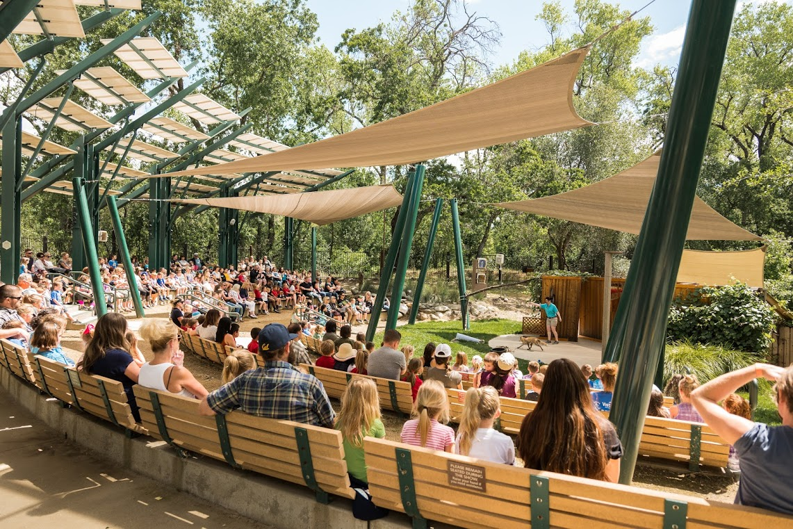 Forest Amphitheater - Home to the Walk on the Wild Side animal show. An educational show entertains guests while bringing about appreciation for the diversity of animals in our natural world. It seats approximately 400 guests and has recently been renovated with shade sails which make sitting in the summer heat to watch a show easy and enjoyable.