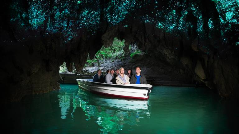 Waitomo Caves - Waitomo Glowworm Caves are a must-see for any traveller. Enjoy the world famous boat ride under thousands of magical glowworms and become a part of over 120 years of cultural and natural history. 45 minutes drive. More…