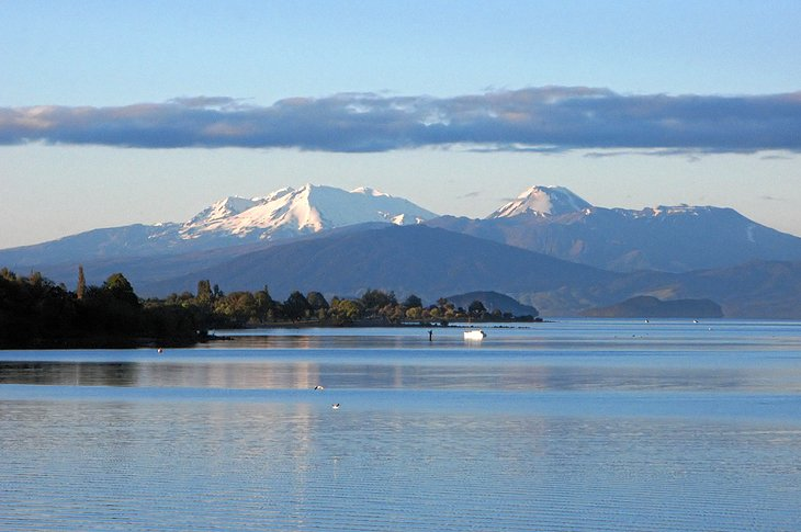 Lake Taupo - From snow-blanketed winter skifields and alpine deserts, ancient forests and trout-filled rivers to the thundering Huka Falls, steaming geothermal valleys and the otherworldly landscape of Tongariro National Park. More…