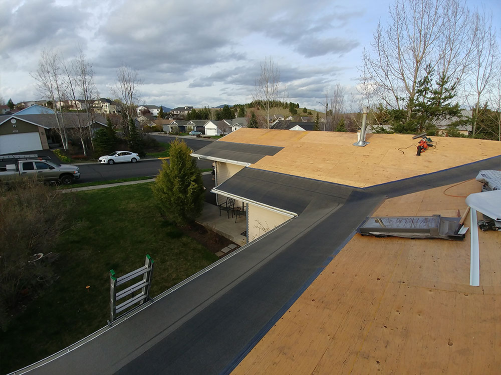 Above: We install ice and water shield standard on all of our roofs!