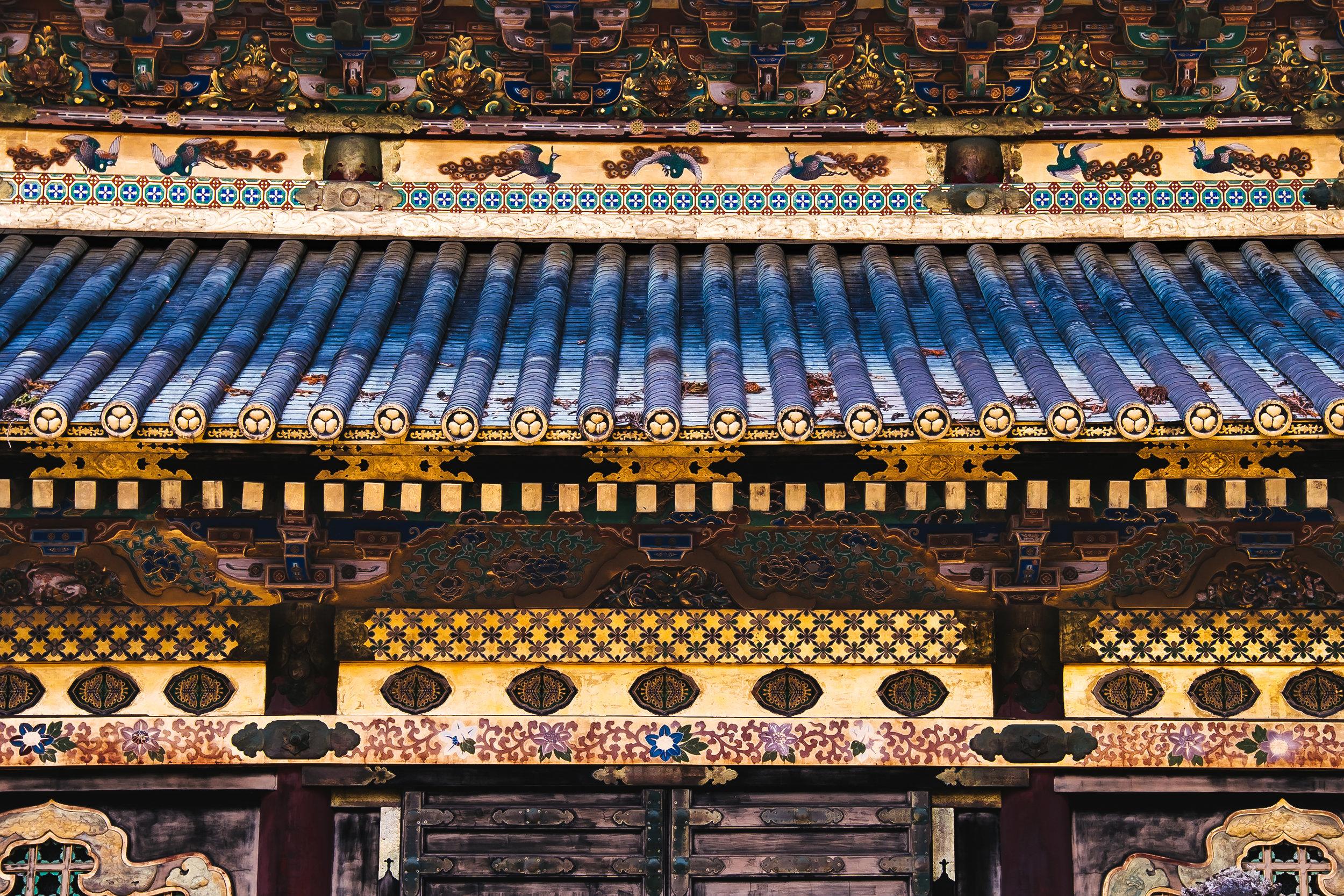 Detail of Toshogy Shrine in Nikko, Japan.