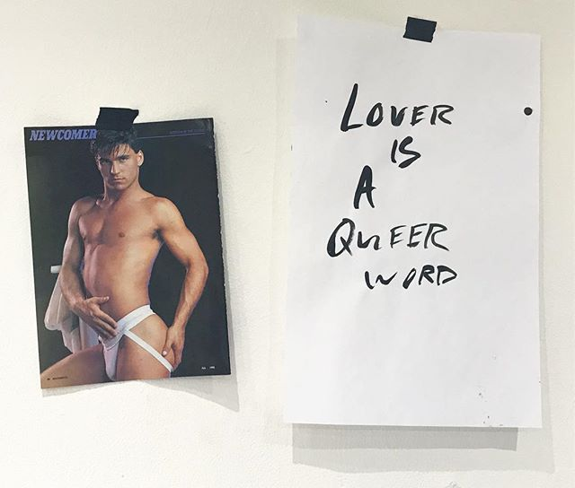 Lover is a queer word, Manshots July 1993. . . . #queer #artyyc #queerart #gay #gayart #text #textart #foundimage #studio