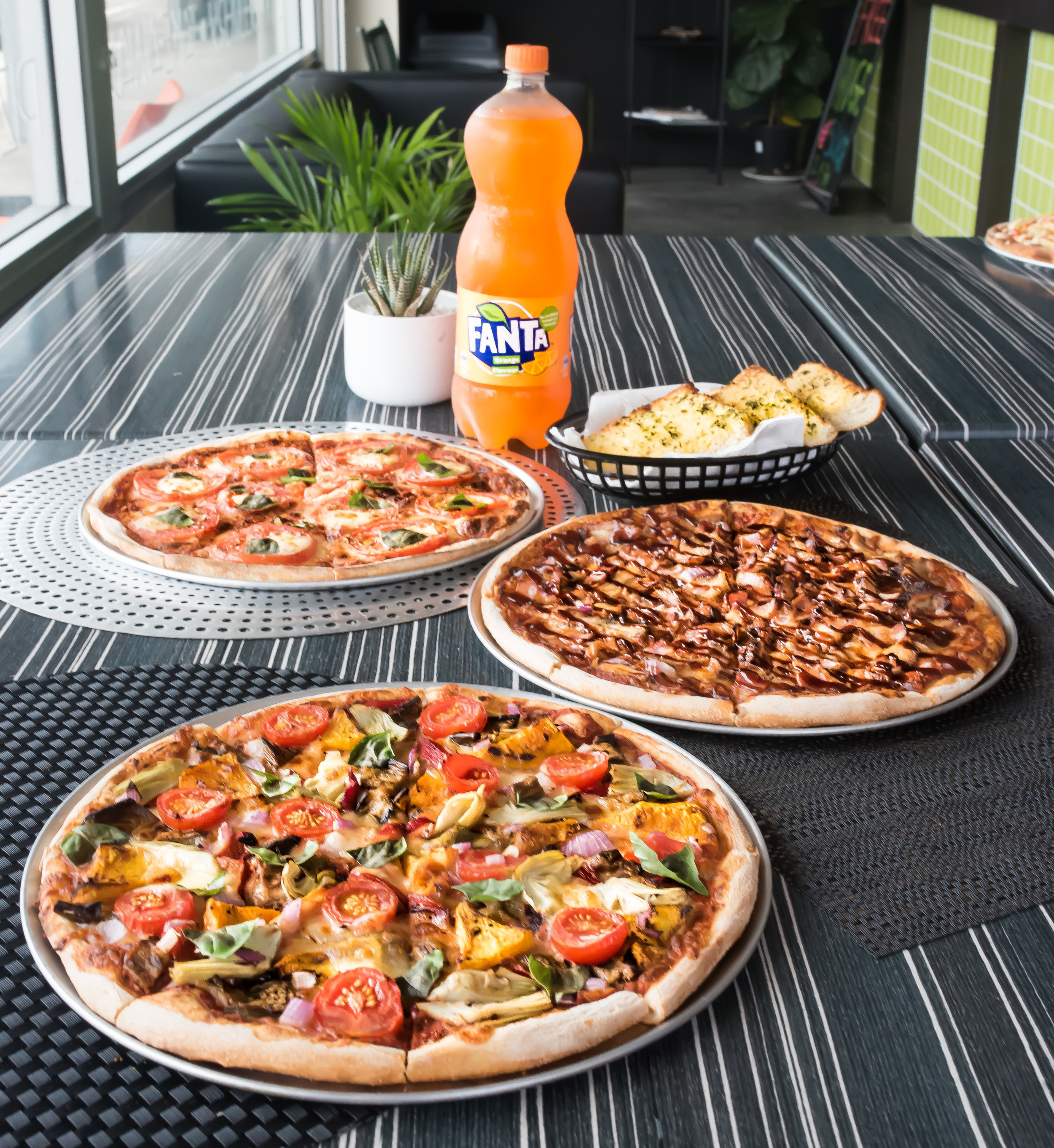 Order any 3 Large Pizzas plus a Garlic Bread...get a free drink!