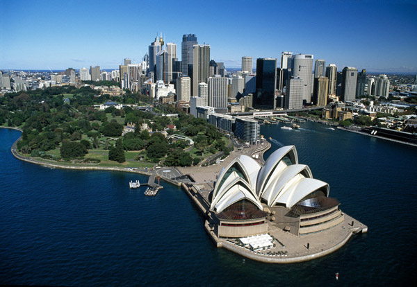 sydney opera house aerial shot city