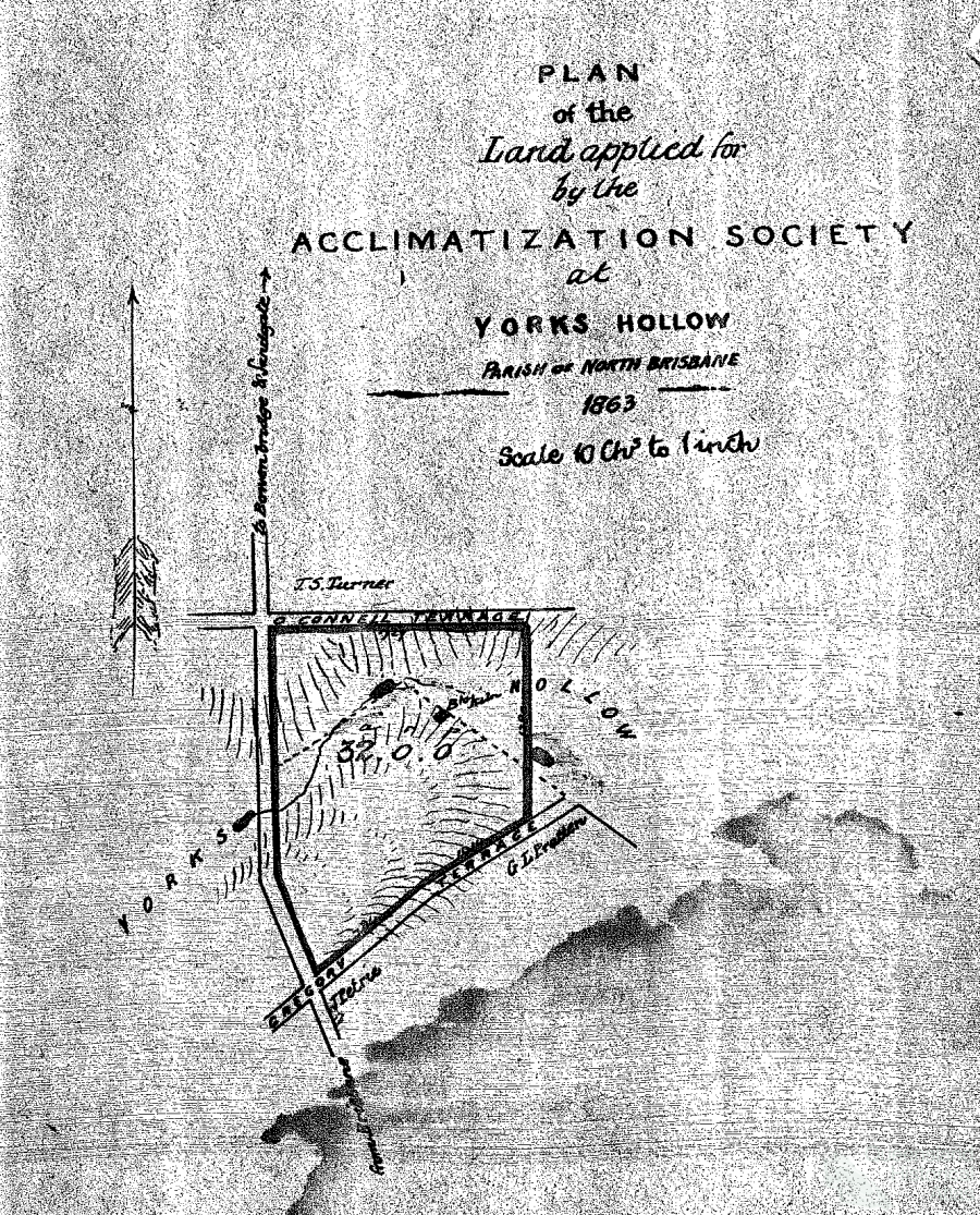 Land granted to Acclimatisation Society in 1863 (Reserve File QSA Item 516115).PNG