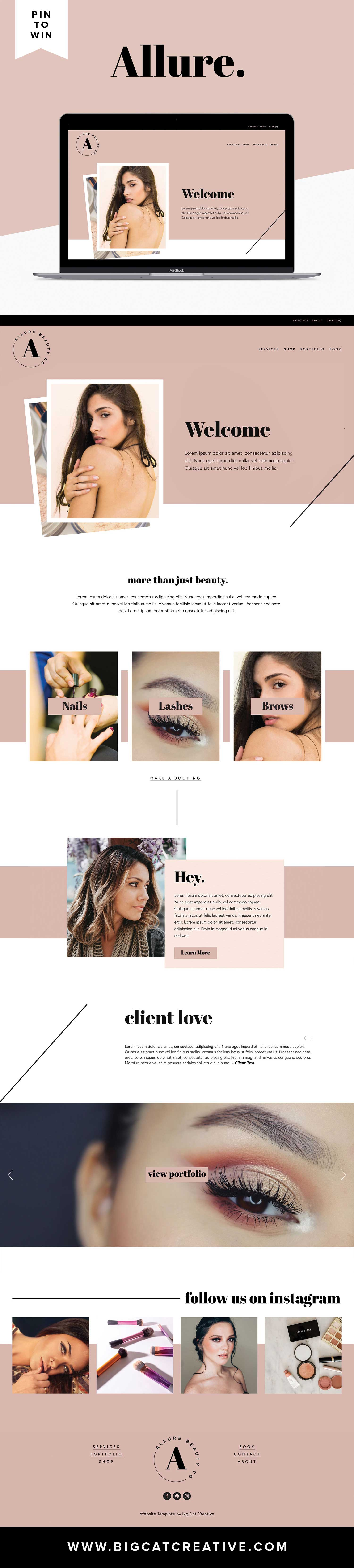 PIN TO WIN! ALLURE Squarespace Template by Big Cat Creative is LIVE - Allure is a modern, feminine and gorgeous Squarespace Template perfect for beautician businesses (hair stylists, lash experts, browticians, manicurists etc) or any service based or small business.  #squarespace #template #webdesign #design
