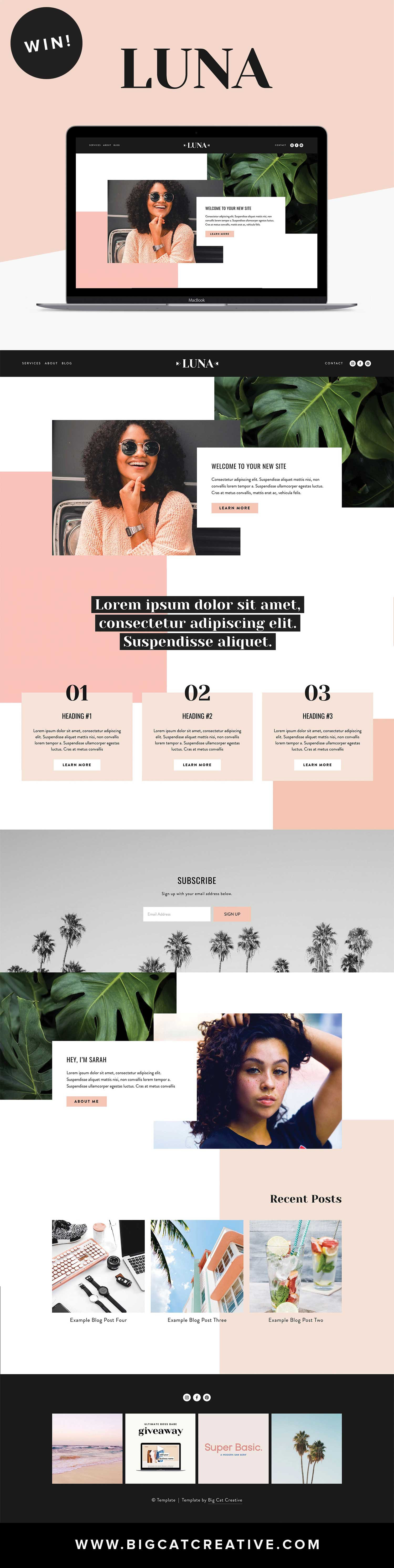 ** GIVEAWAY** LUNA Squarespace Template Kit by Big Cat Creative   The Luna Squarespace Template Kit is a fun and dynamic website template that is perfect for almost any small business, blogger or influencer. #squarespace #template #website