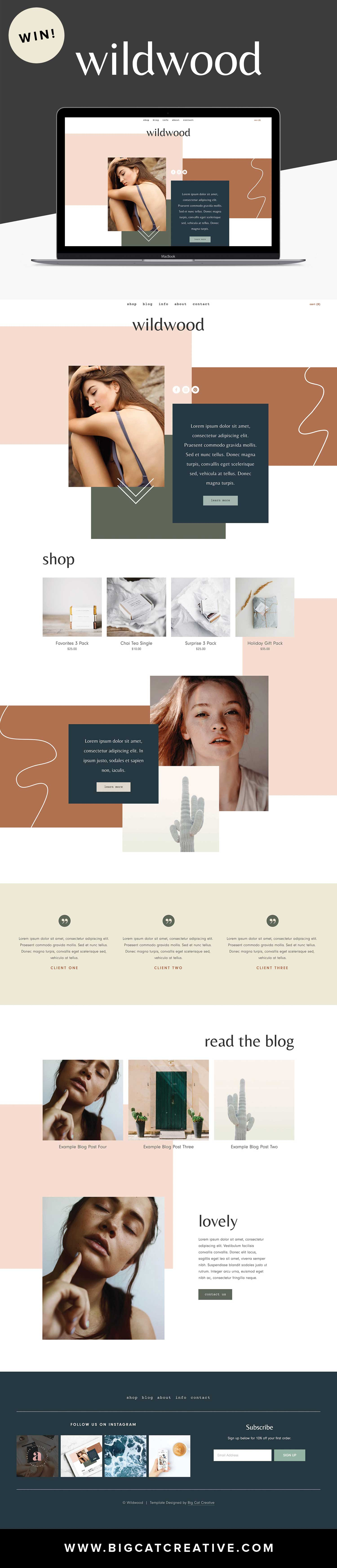 ** GIVEAWAY** The Wildwood Squarespace Template Kit is an artistic website theme with an abstract, collage style layout. It's highly customizable and perfect for any small business #squarespace #template #website