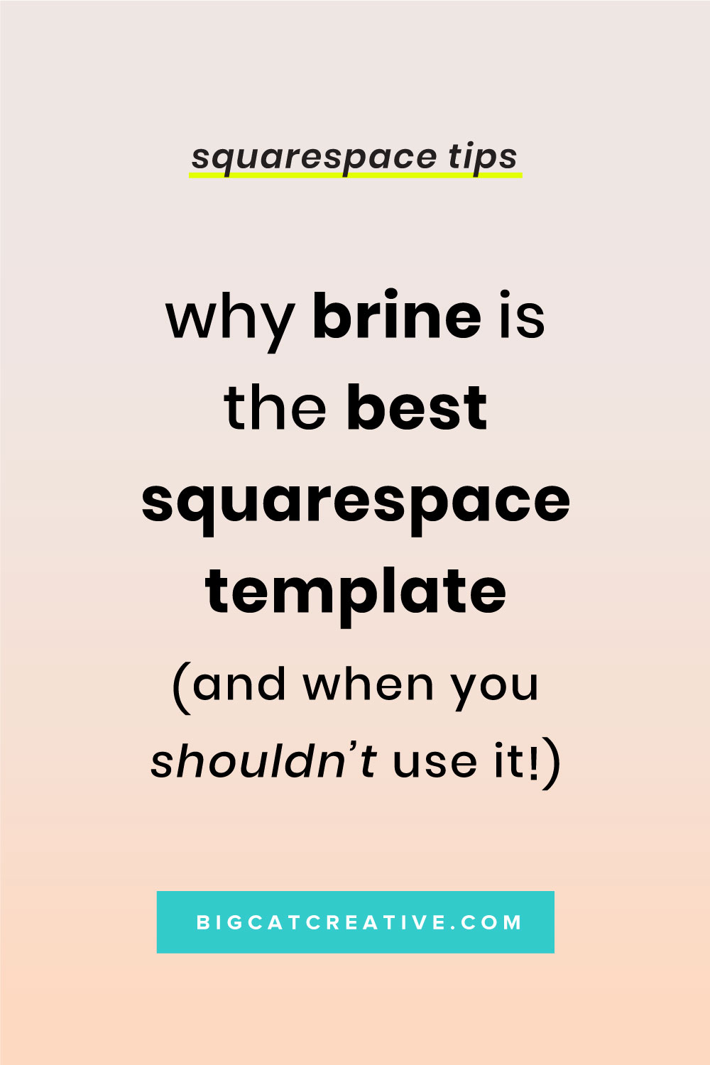 Why Brine is the Best Squarespace Template & When you Shouldn't use it! By Big Cat Creative | Squarespace Tips | Squarespace Template | DIY Web Design | Website Templates
