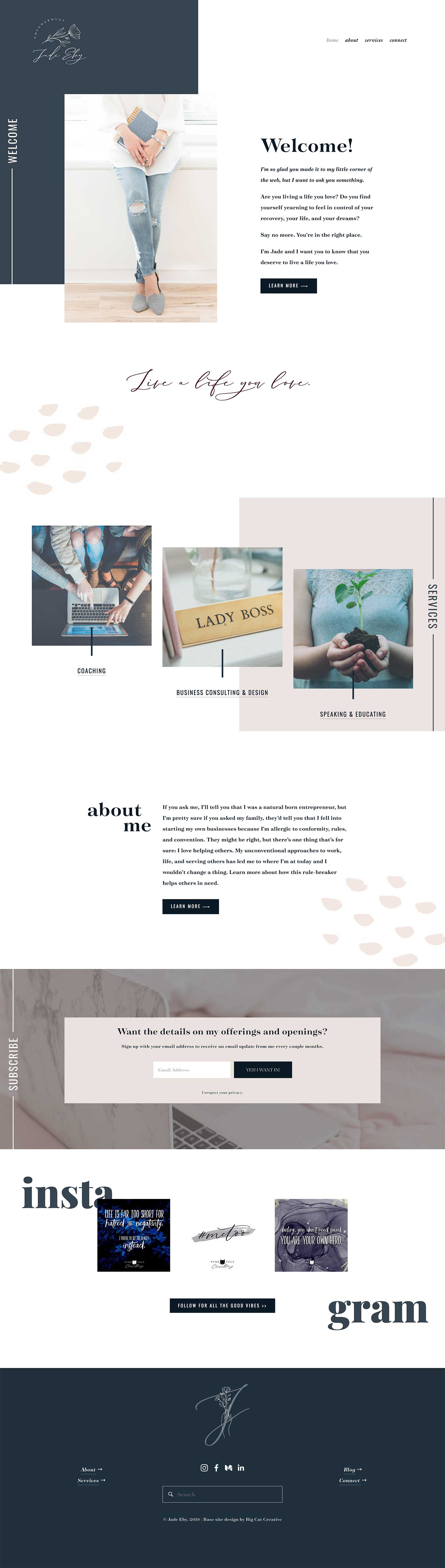 Squarespace Template Design by Big Cat Creative - Unearth Template Showcase - Jade Eby