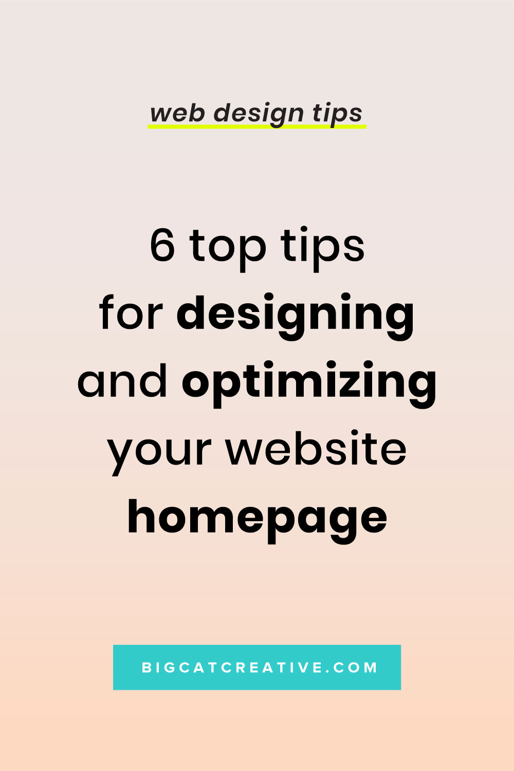 6 Top Tips for Designing & Optimizing Your Website Homepage by Big Cat Creative - Web Design Tips and Tutorials