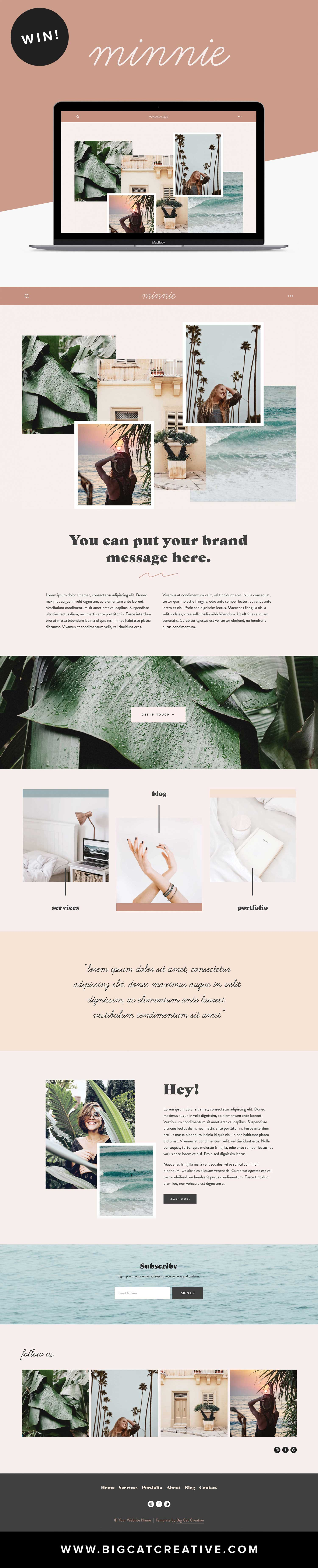WIN THIS SQUARESPACE TEMPLATE! Minnie Squarespace Template Kit by Big Cat Creative | Squarespace | Website Template | Squarespace Template