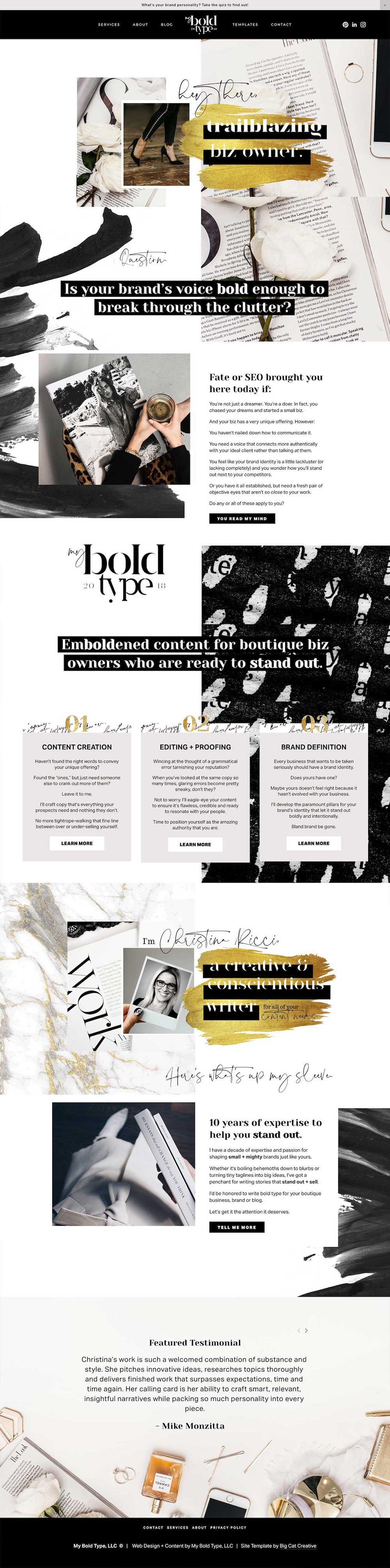 Squarespace Template Design by Big Cat Creative - Luna Template Showcase - My Bold Type