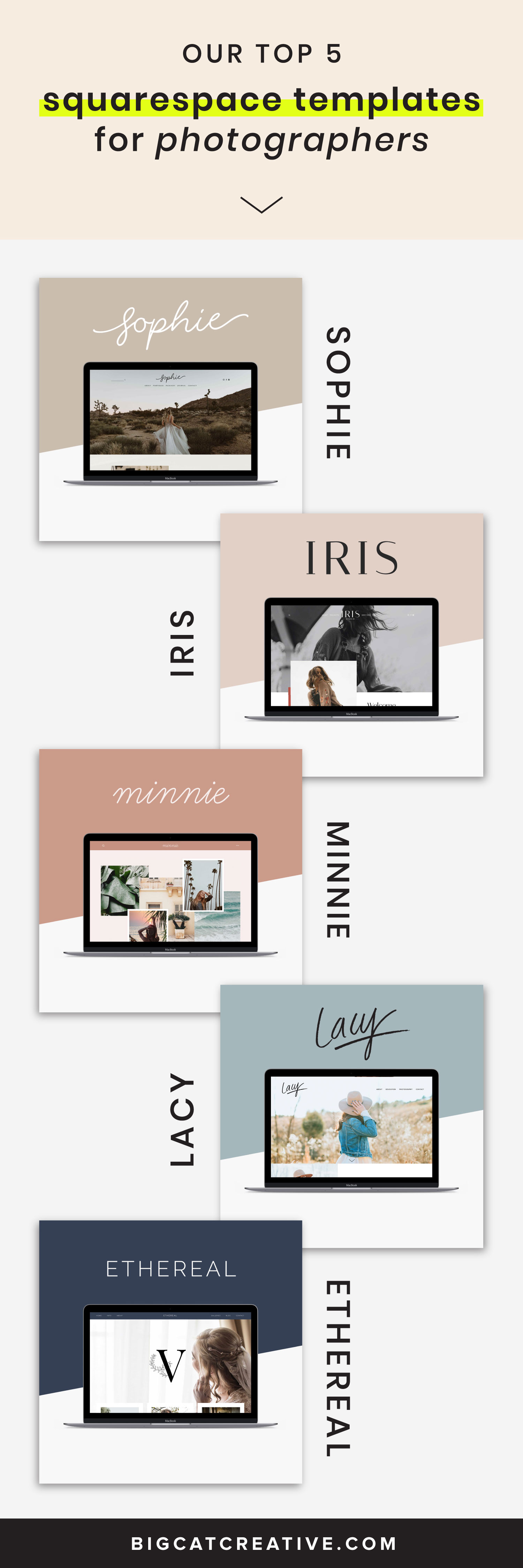 See our top 5 Squarespace Templates for Photographers. Our unique Squarespace Template Kits are perfect for all photographers and creative entrepreneurs and are completely customizable for your business. Squarespace Tips by Big Cat Creative   Squarespace Templates for Photographers   Web Design Tips