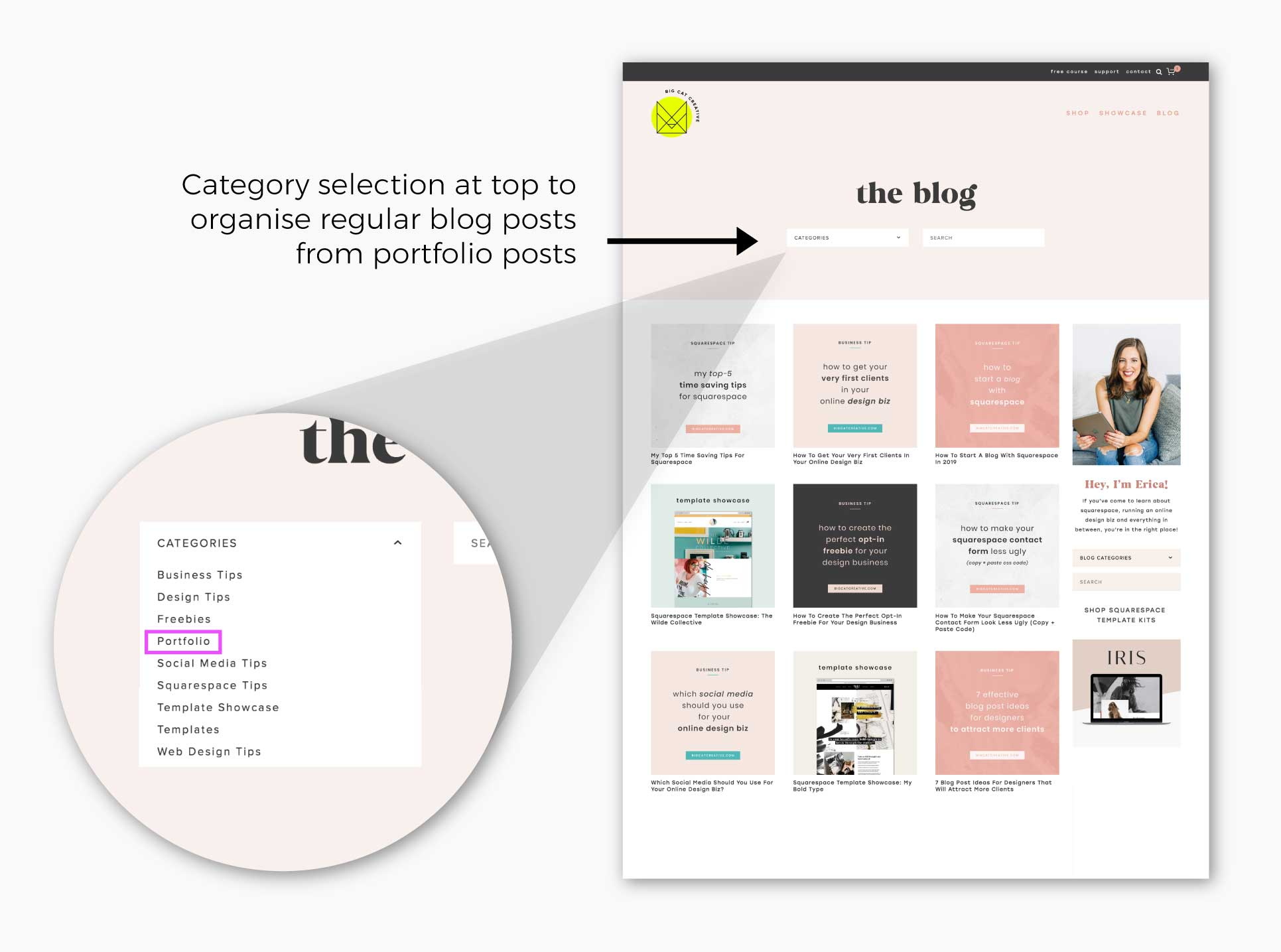 3 Simple Ways To Add A Portfolio To Your Squarespace Website Big Cat Creative Squarespace Templates