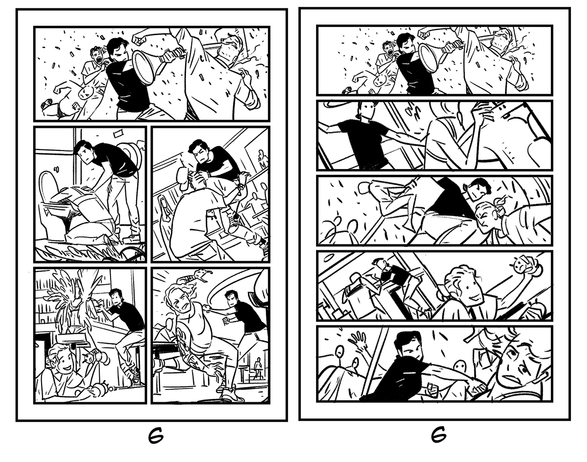 Daniel Hillyard's initial and final layouts for THE RIDE: BURNING DESIRE #2, page 6