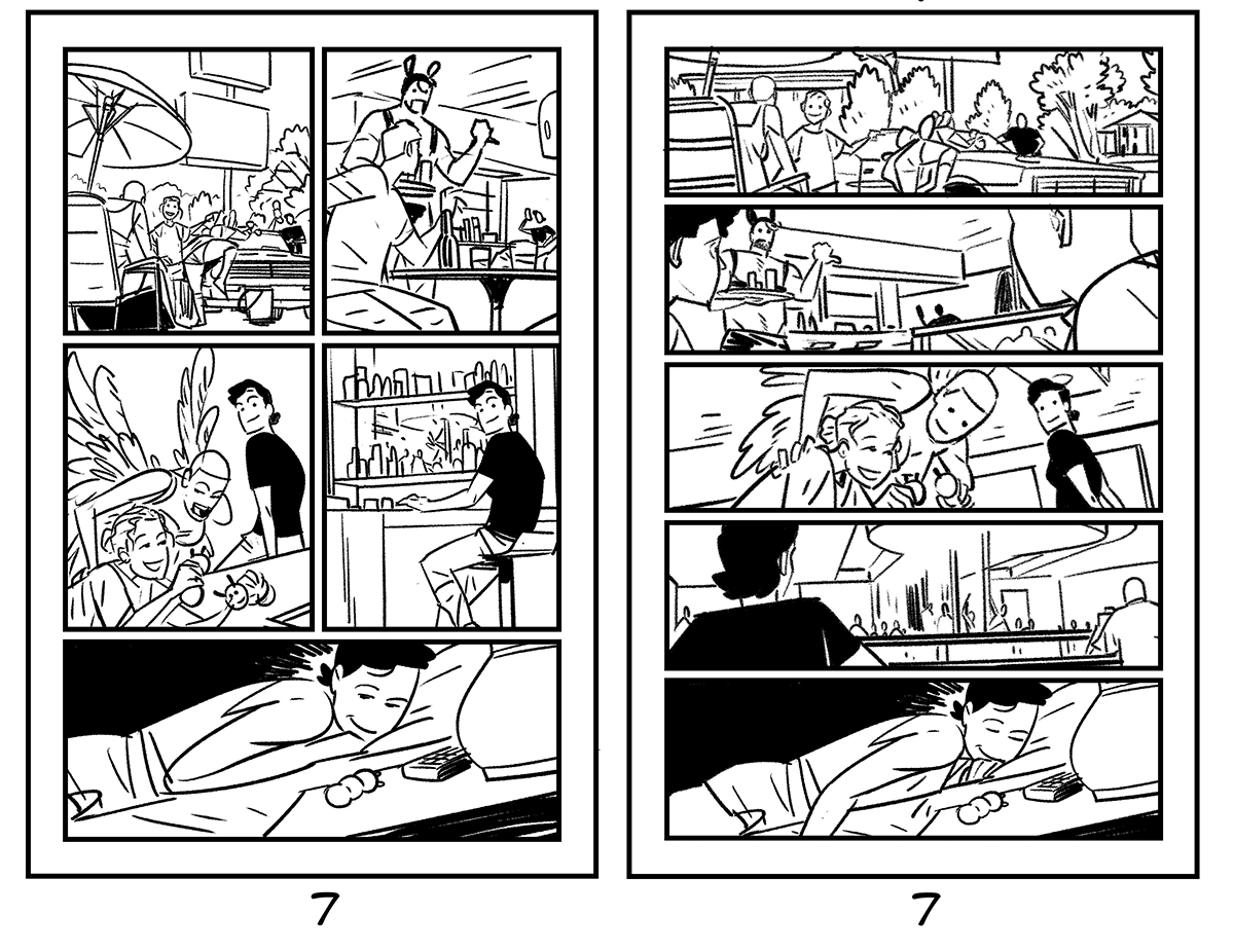 Daniel Hillyard's initial and final layouts for THE RIDE: BURNING DESIRE #2, page 7